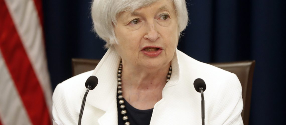 FILE - In this Wednesday, Sept. 20, 2017, file photo, Federal Reserve Chair Janet Yellen speaks at a news conference following the Federal Open Market Committee meeting in Washington. Yellen said Tuesday, Nov. 7, 2017, that the Fed's effectiveness critically depends on the nation's confidence that the central bank is acting only in the public's interest. Yellen's remarks came at a ceremony where she and former Fed Chairman Ben Bernanke were honored with this year's Paul H. Douglas Award for Ethics in Government, named for the late Illinois senator. (AP Photo/Pablo Martinez Monsivais, File)